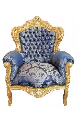 Grand fauteuil de style baroque goblin bleu et bois doré