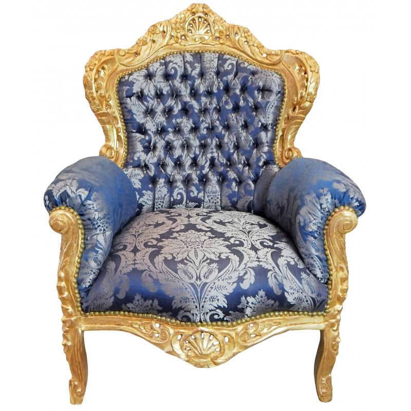 grand fauteuil de style baroque tissu satin gobelins bleu bois dor. Black Bedroom Furniture Sets. Home Design Ideas