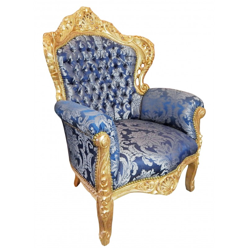 Grand fauteuil de style baroque tissu satin gobelins - Fauteuil style baroque pas cher ...