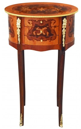 Nightstand (Bedside) oval style Louis XVI marquetry with flowers motives and bronze