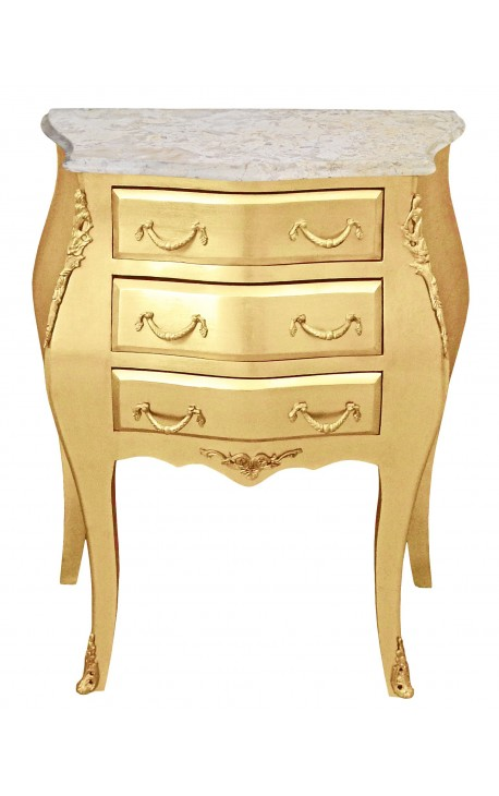 Nightstand (Bedside) baroque wooden gold with beige marble