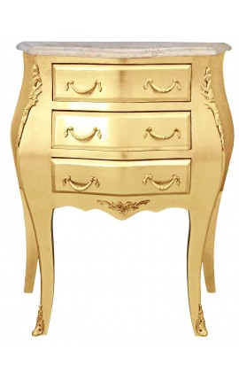 Bedside (bedside) baroque wooden gold chest with beige marble