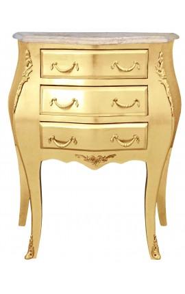 Table de nuit (chevet) commode baroque en bois doré plateau marbre beige