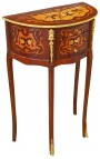 Nightstand (Bedside) half round style Louis XVI marquetry with flowers motives and bronze