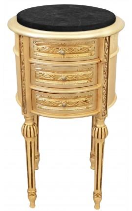 Table de nuit (chevet) tambour bois doré, 3 tiroirs et marbre noir
