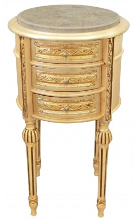 Table de nuit (chevet) tambour bois doré avec 3 tiroirs, marbre beige