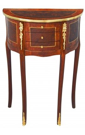 Nightstand (Bedside) half round style Louis XVI marquetry and bronze