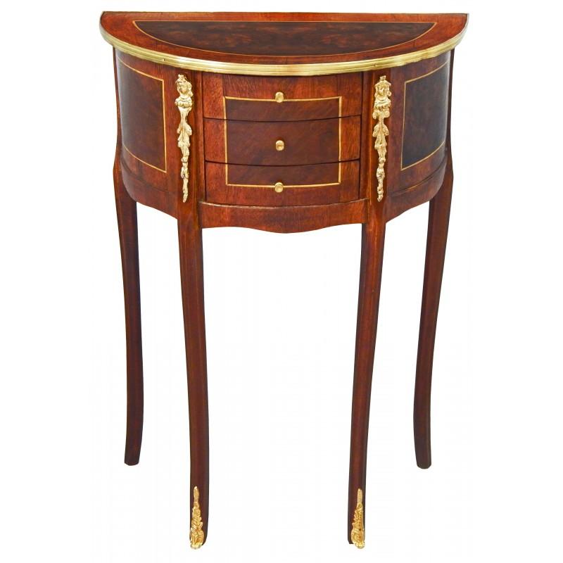 Table style International bronzes lune avec de Art marqueterie de Louis Palace Royal XVI et nuitchevetdemi O0nPwk