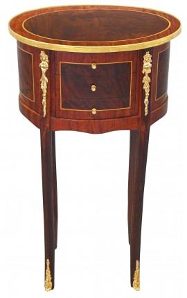 Table de nuit (chevet) ovale de style Louis XVI avec marqueterie et bronzes