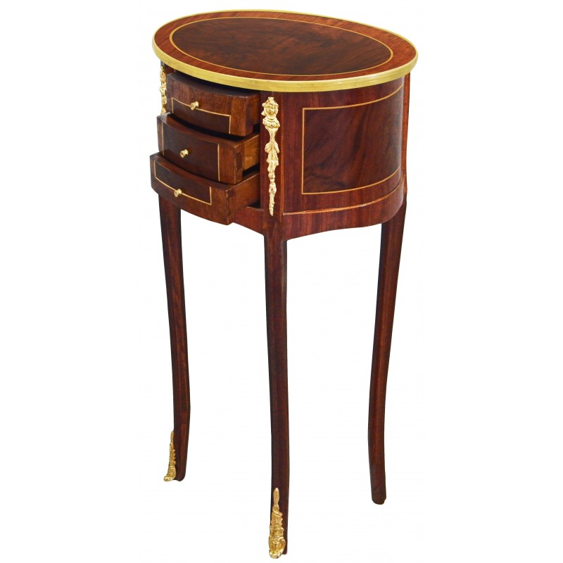 table de nuit chevet ovale de style louis xvi avec. Black Bedroom Furniture Sets. Home Design Ideas