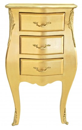Thin bedside (night stand) baroque wooden gold with 3 drawers