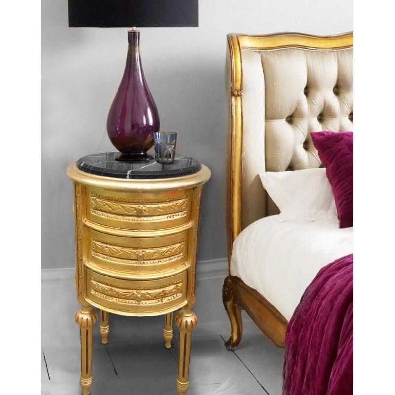 table de nuit chevet tambour bois dor avec 3 tiroirs et. Black Bedroom Furniture Sets. Home Design Ideas