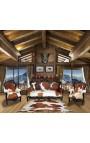 Гранд стиль барокко кресло истинное коричневая кожа коровы и черного лакированного дерева