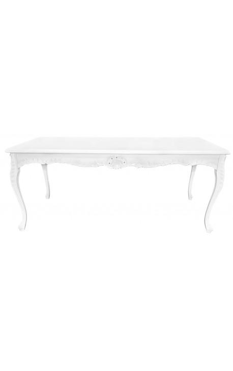 Table de repas baroque en bois laqué blanc