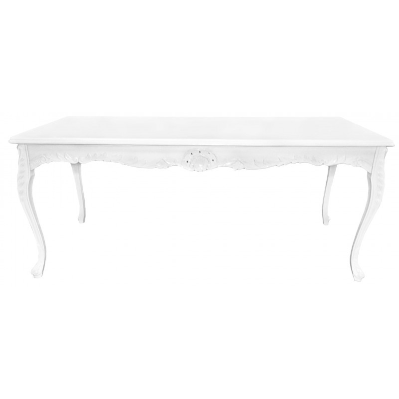 Baroque Dining Table In White Lacquered Wood