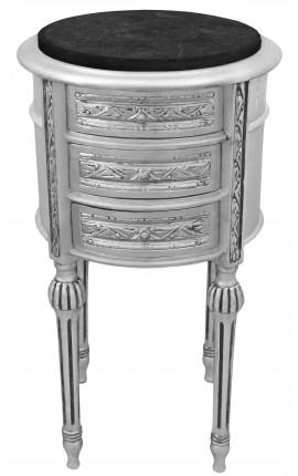 Table de nuit (chevet) tambour argenté avec 3 tiroirs et marbre noir