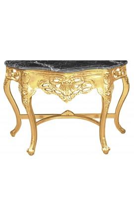 Console de style baroque en bois doré et marbre noir