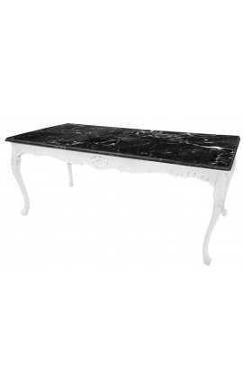 Large dining table wooden baroque white lacquered and black marble