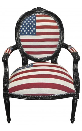 Baroque armchair Louis XVI style American Flag and glossy black wood