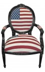 Baroque armchair Louis XVI style medallion American Flag and white texture and black lacquered wood