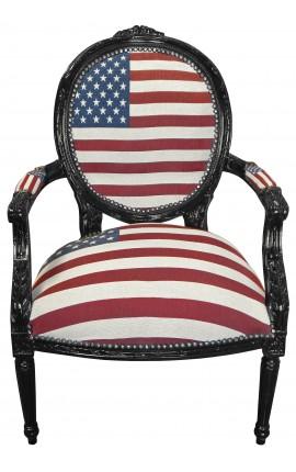 """Fauteuil baroque de style Louis XVI """"American Flag"""" et bois noir"""