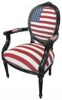 Стиль барокко кресло Louis XVI «Американский флаг» и черного дерева