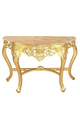 Baroque console with gilt wood and beige marble