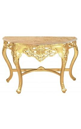 Console de style baroque en bois doré et marbre beige