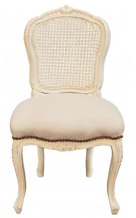 Chaise de style Louis XV cannée, tissu beige et bois beige patiné