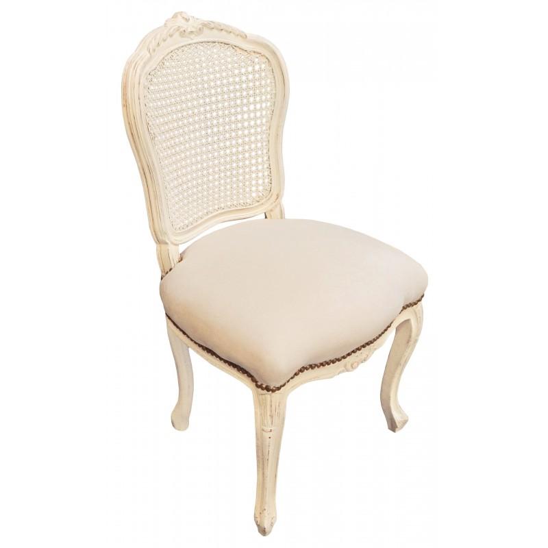 de style Louis XV cannée, tissu beige et bois beige patiné
