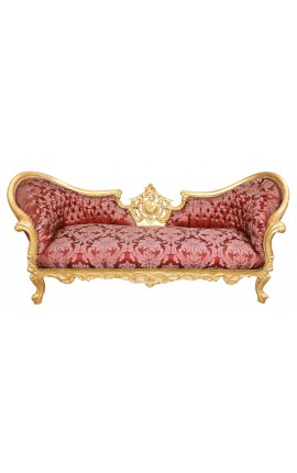 "Baroque Napoleon III style sofa red ""Gobelins"" fabric and gold leaf wood"