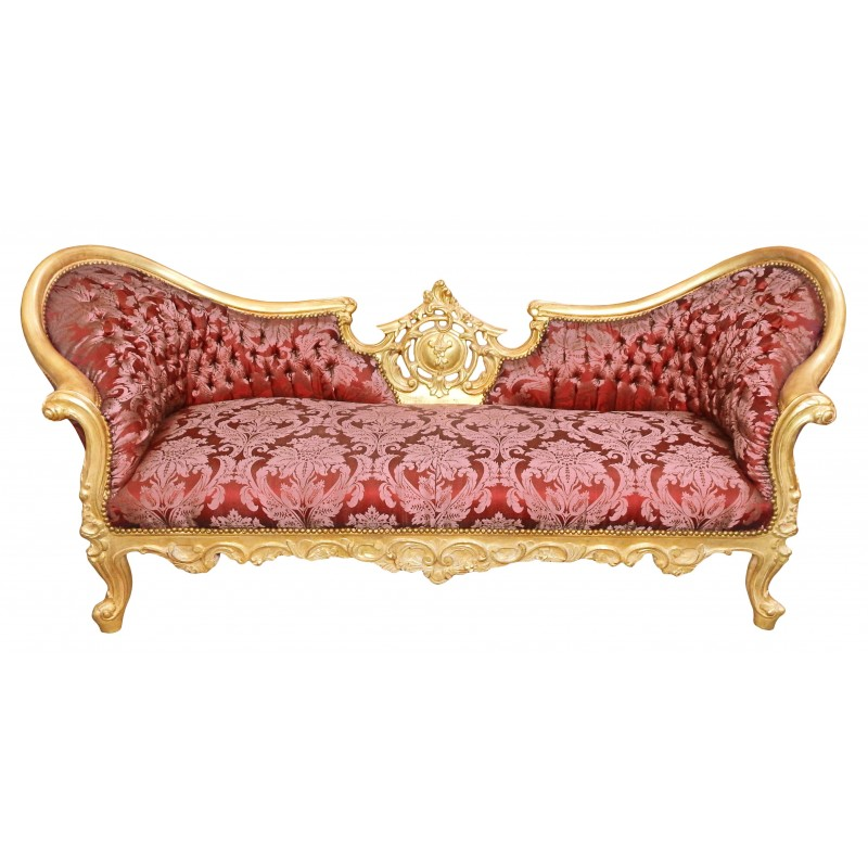 Baroque napoleon iii style sofa red gobelins fabric and for Canape style baroque