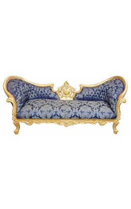"Baroque Napoleon III style sofa blue ""Gobelins"" fabric and gold leaf wood"