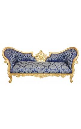 """Canapé baroque Napoléon III médaillon tissu """"Gobelins"""" bleu et bois doré"""