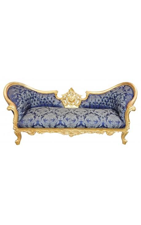 """Canapé baroque Napoléon III tissu """"Gobelins"""" bleu et bois doré"""