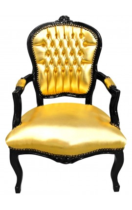 Baroque armchair Louis XV style gold leatherette and glossy black wood