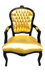 Baroque armchair Louis XV style faux leather gold and glossy black wood