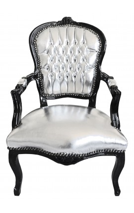 Baroque armchair Louis XV style faux leather silver and black wood