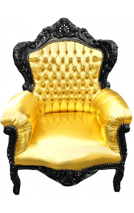 Grand fauteuil de style baroque simili cuir doré et bois noir
