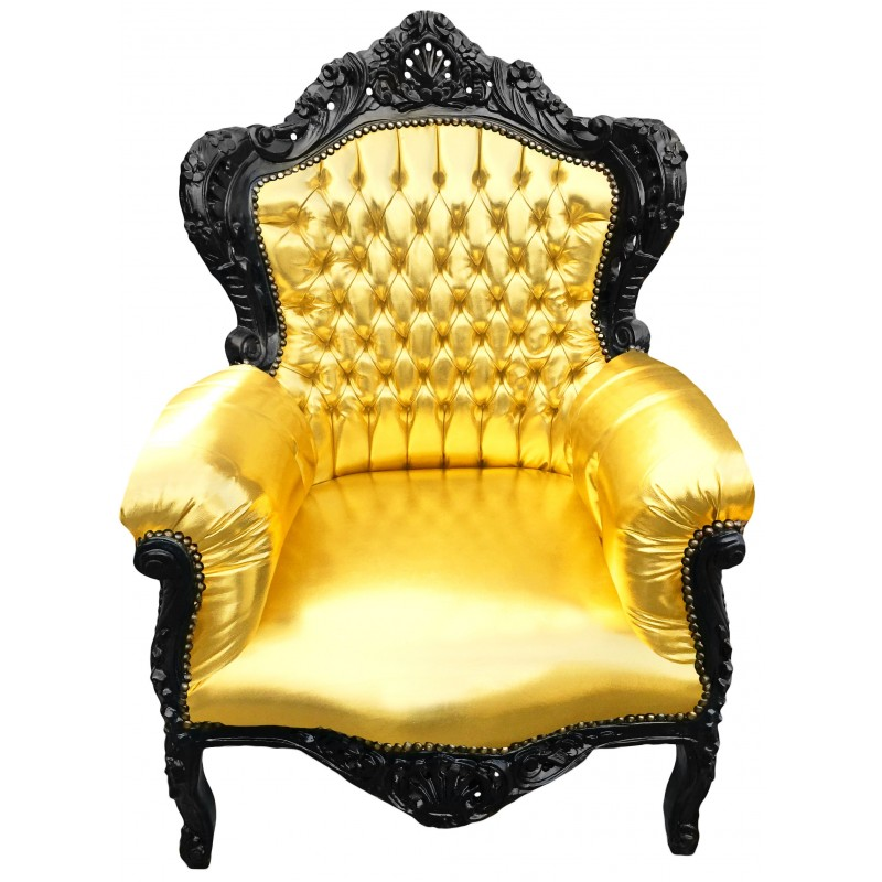 grand fauteuil de style baroque en simili cuir dor et. Black Bedroom Furniture Sets. Home Design Ideas