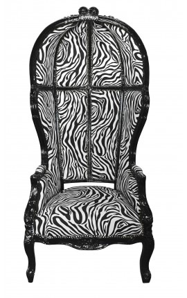 Grand porter's baroque style armchair zebra black shine wood
