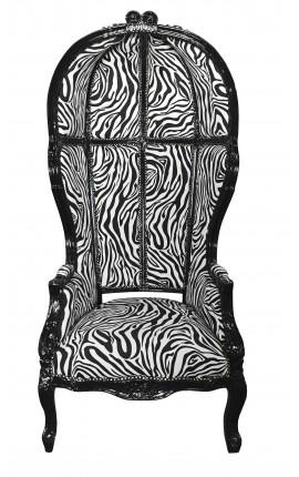 Стиль барокко кресло зебры ткань великого привратника и черный блеск лакированного дерева