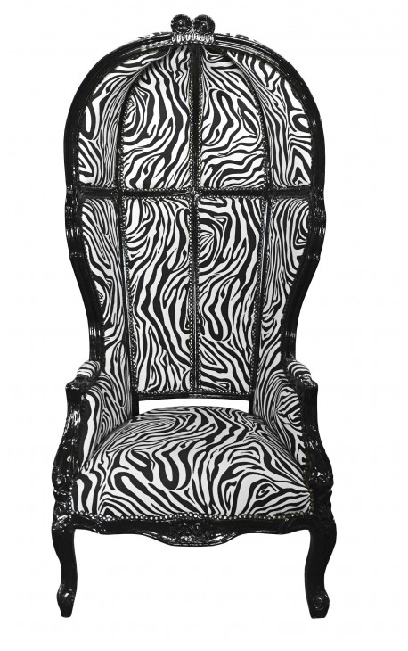 grand fauteuil carrosse de style baroque tissu z bre et bois noir. Black Bedroom Furniture Sets. Home Design Ideas