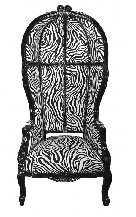 Grand porter's baroque style armchair zebra black shine wood