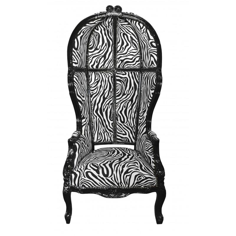 Grand Fauteuil Carrosse De Style Baroque Tissu Zebre Et Bois Noir