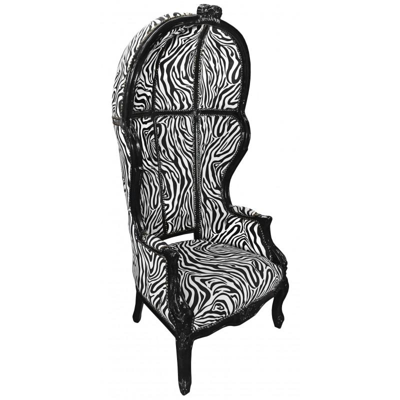 grand fauteuil carrosse de style baroque tissu z bre et. Black Bedroom Furniture Sets. Home Design Ideas