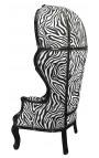 Grand fauteuil carrosse de style Baroque tissu zèbre et bois noir