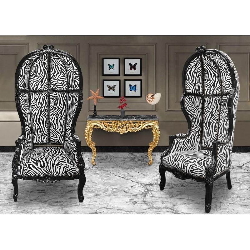 Grand fauteuil carrosse de style baroque tissu z bre et for Meuble zebre