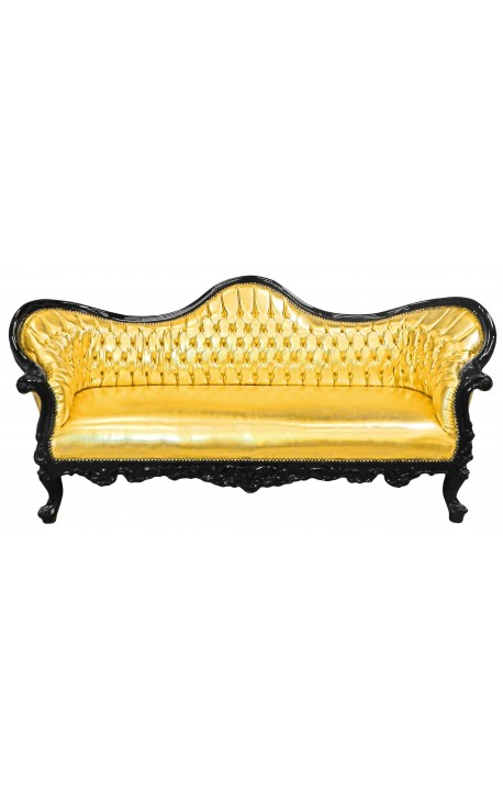 Baroque sofa Napoleon III fabric faux leather gold and black lacquered wood