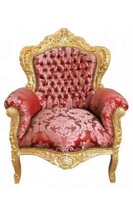 "Big baroque style armchair red ""Gobelins"" fabric and gold wood"